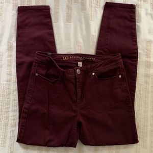 LC Wine Colored Stretchy Jeans